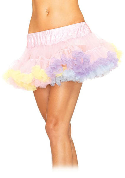 Rainbow Trimmed Pink Mini Petticoat