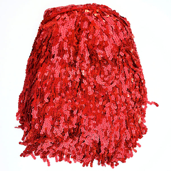 "12"" Red Holographic Sequin Fringe"