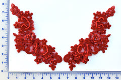 Red Appliqué Pair With Sequins And Beads