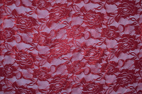 Red Foiled Stretch Lace