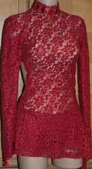 Dark Red Metallic 2-Way Stretch Lace