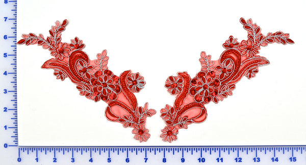 Pair Appliqués With Sequins, Beads And Silver Metallic Edging - 6 Colors Available