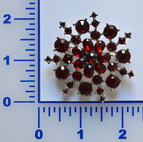 Red Snow Flake Rhinestone Brooch