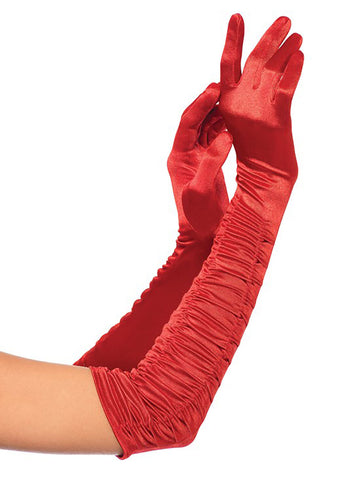 Red Opera Length Ruched Satin Gloves