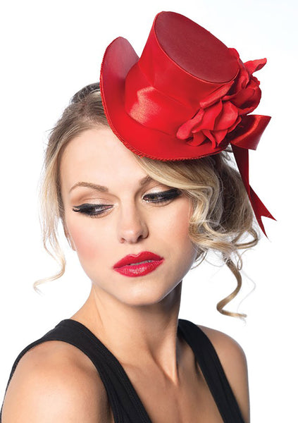 Red Satin Top Hat w/Flower and Bow