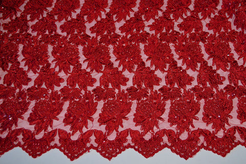 Red Beaded And Sequin Corded Bridal Lace - Scalloped Border On Both Edges