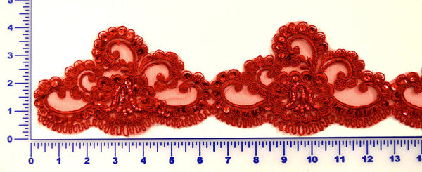 Red Beaded Lace Trim With Sequins & Beads