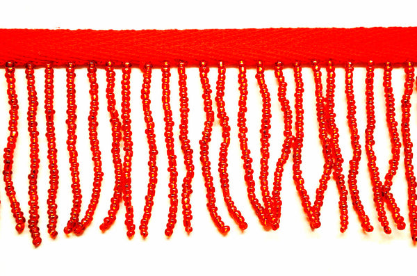 "2"" Red Seed Bead Fringe"