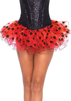Red & Black Polka Dot Chiffon Tutu