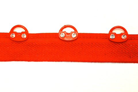 Red Eyelet Tape w/Rhinestones
