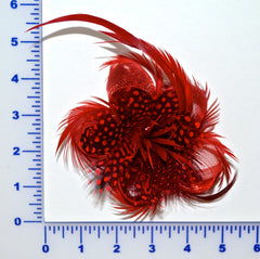 Feather Flower With Mesh Ribbon - Hair Clip And Pin Attached