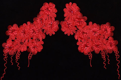 Red Flower Appliqué Pair With Beads