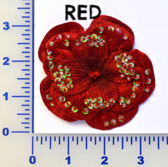 "3"" Velvet Beaded Flower - 8 Colors Available - Individual or 6 Packs"