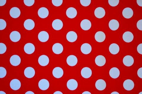 White Polka Dots On Red Nylon Spandex