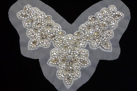 Rhinestone Bodice Appliqué on Mesh