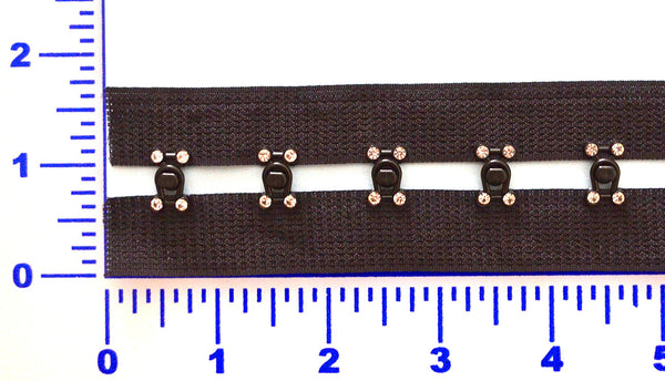 "Black 3/4"" Snap Together Hook & Eye Tape w/ Rhinestones"
