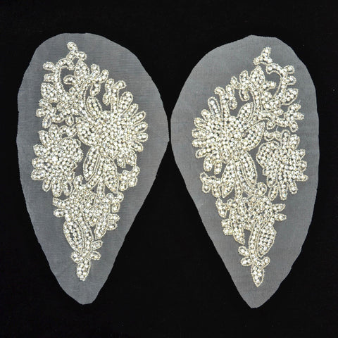 Crystal Rhinestone Appliqué Pair on Mesh