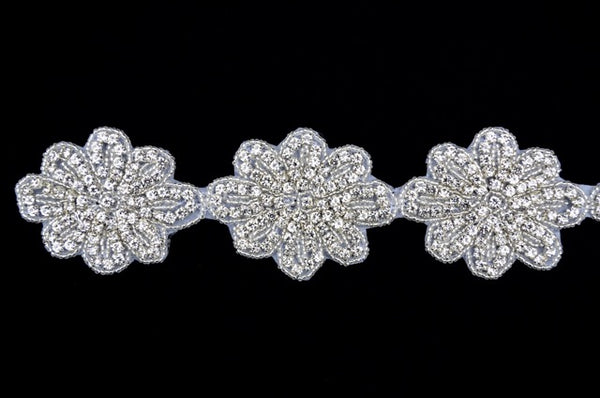Crystal Rhinestone Flower Trim