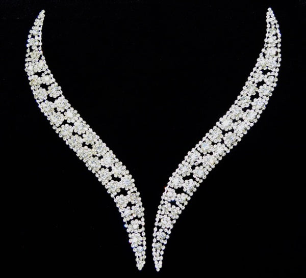 Rhinestone Paired Appliqué - Set In Metal - Bendable Ends