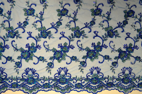 Royal Mesh With Embroidery Sequins & Beads - Border On Both Edges