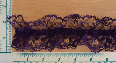 "2 1/2"" Gathered Stretch Lace - Purple"