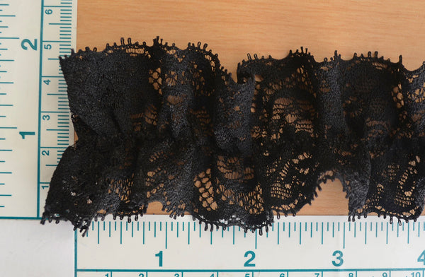 "2"" Gathered Stretch Lace - Black"