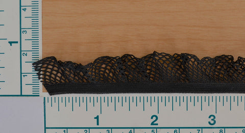 "3/4"" Ruffled Stretch Mesh - Black"