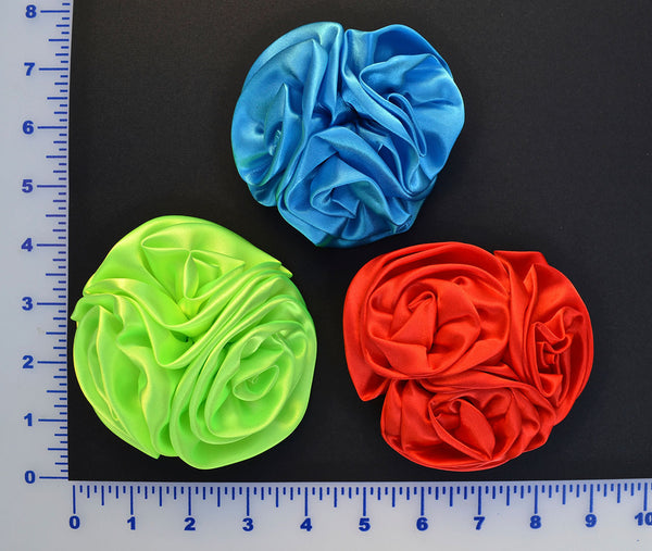 Satin Flower Brooch With Pin Attached - 3 Colors Available