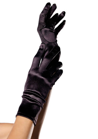 Satin Wrist Length Gloves - 3 Colors Available