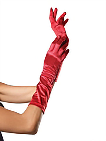 Satin Elbow Length Gloves - 3 Colors Available