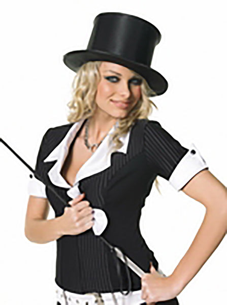 Black Satin Pop-Up Top Hat