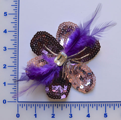 Purple Sequin Flower Brooch With Rhinestone Center & Flower
