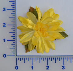 "3"" Shiny Satin Flower With Leaves - 7 Colors Available - Packs of 12"