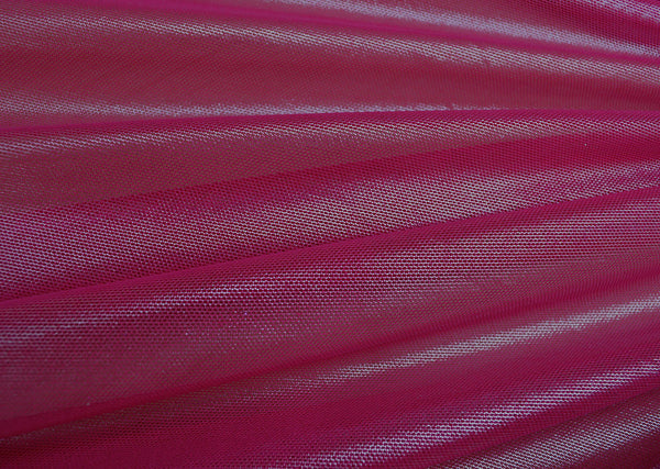 Silver Foil On Fuchsia Stretch Mesh
