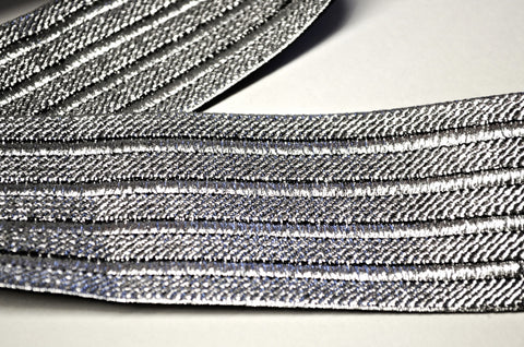 "2"" Stretch Metallic Elastic Trim - Silver /Black"