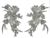 Silver Beaded Appliqué Pair