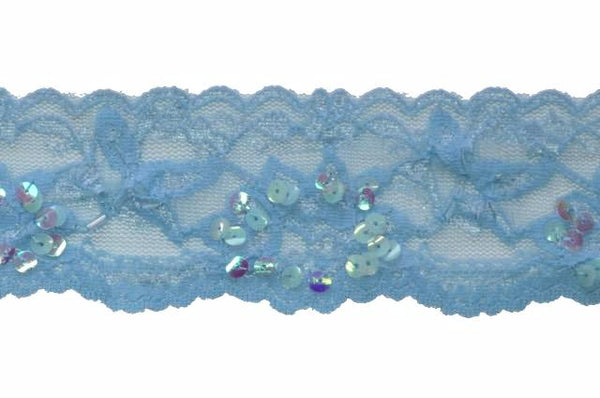 "Sky Blue 2"" Stretch Lace w/Sequins & Beads"