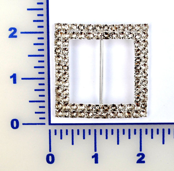 2 Row Square Rhinestone Buckle