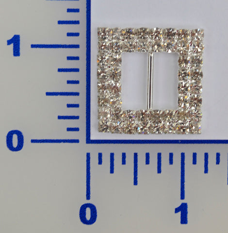 "1 1/8"" Square 2 Row Rhinestone Buckle"