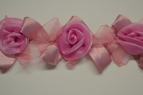 Two Tone Pink Stretch Organza Flower Trim