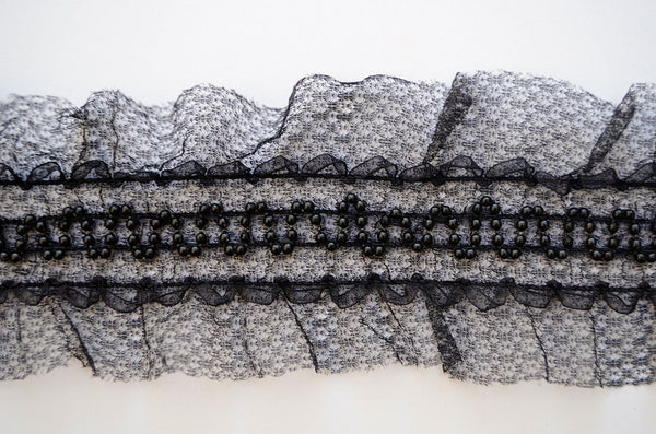 "3"" Fine Stretch Lace With Beads - Black"