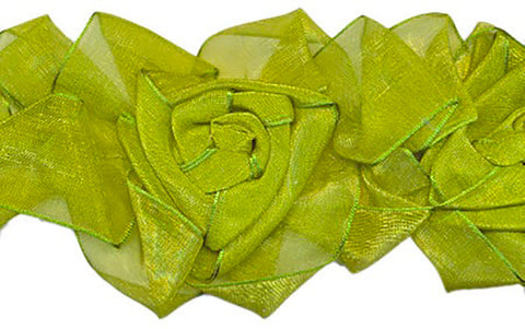 Apple Green Organza Stretch Flower Trim