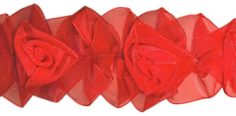 Red Organza Stretch Flower Trim