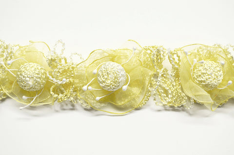 Yellow Stretch Flower Trim