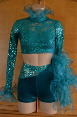 Teal Sequin Stretch Lace