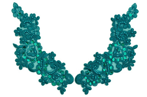 Teal Appliqué Pair With Sequins And Beads