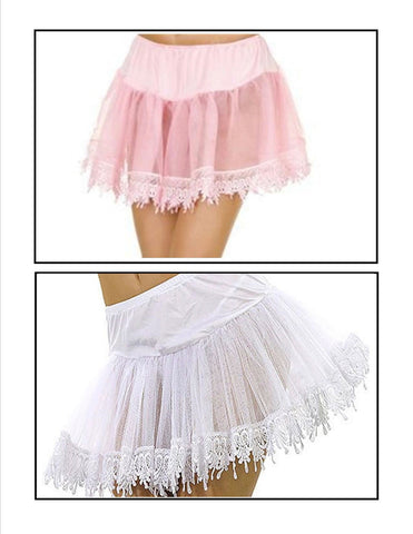 Net Petticoat With Teardrop Lace Trim - 3 Colors Available