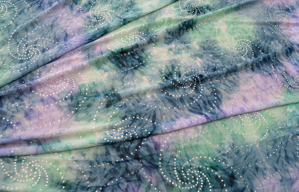 Multicolored Tie Dye Print With Silver Glitter On Semi Sheer