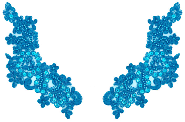 Turquoise Appliqué Pair With Sequins And Beads