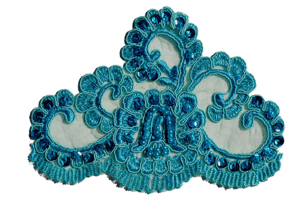 Turquoise Beaded Lace Appliqué